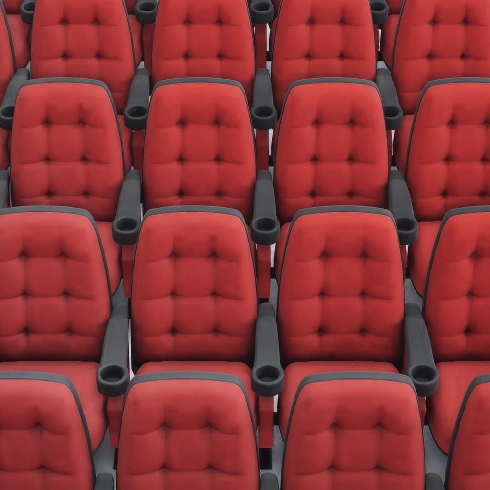 Cinema seats. 3d rendering. Rows armchair closeup.