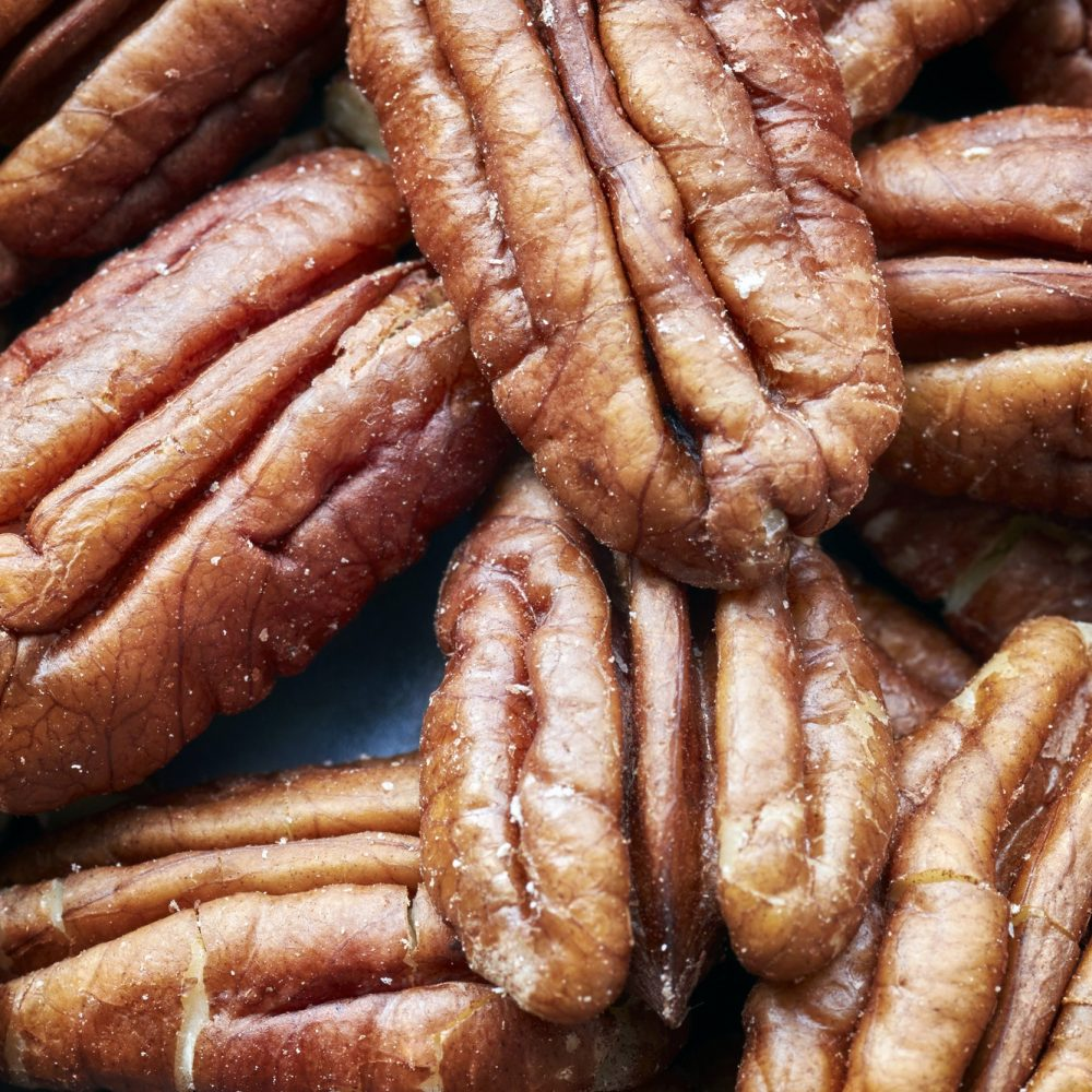 Close up picture of pecan nuts.