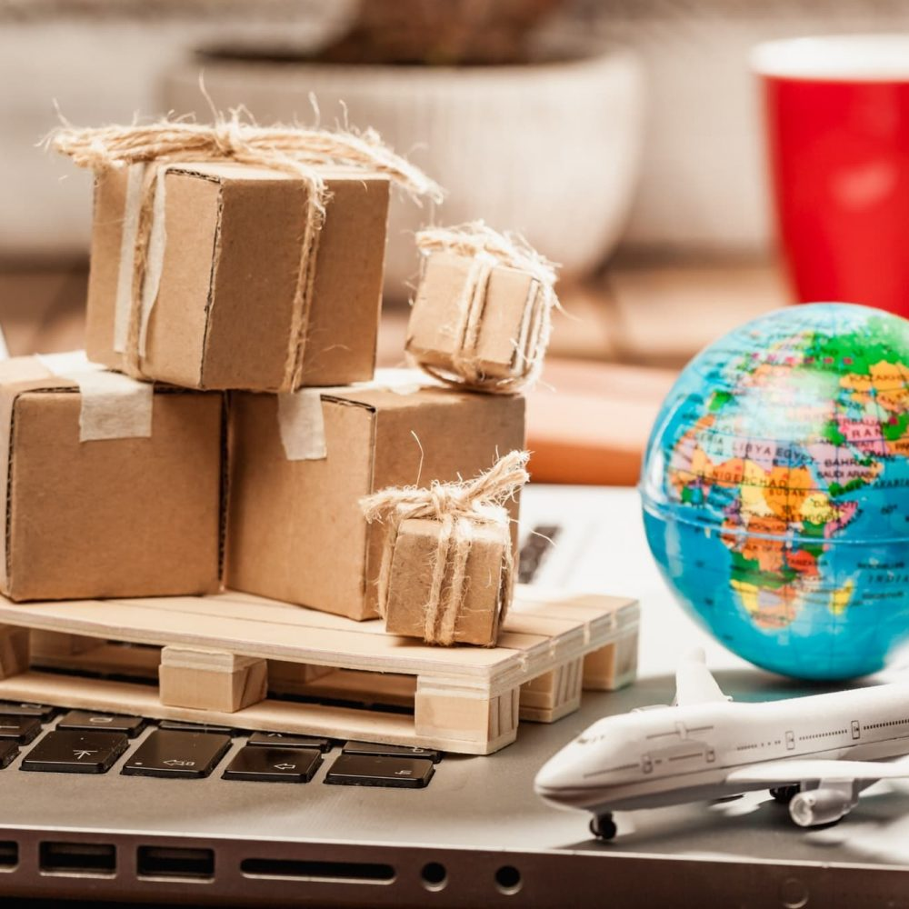 Global online shopping transportation and fulfillment concept image