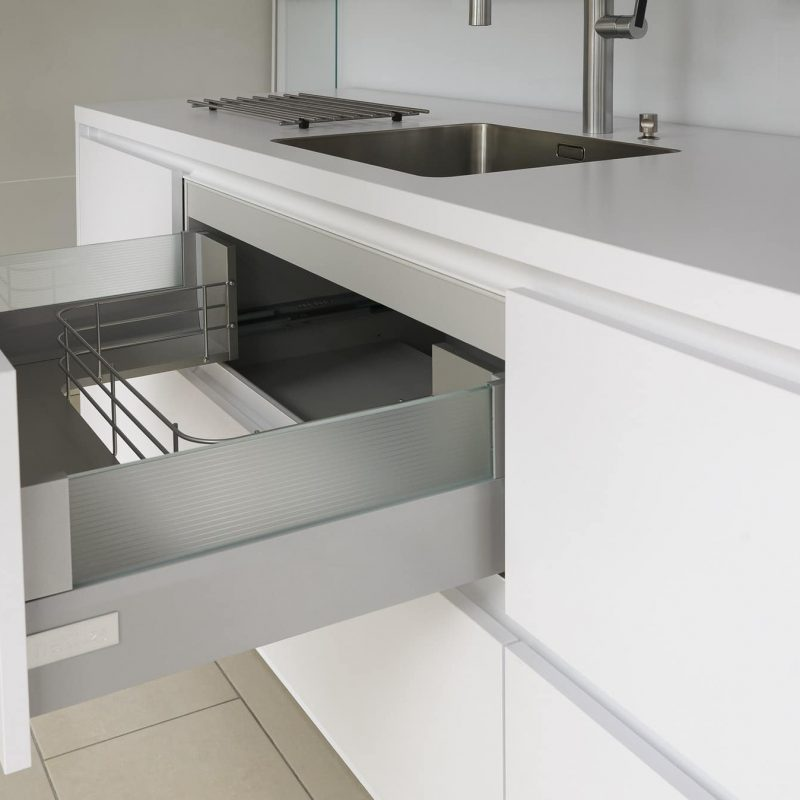 Open drawer in modern kitchen